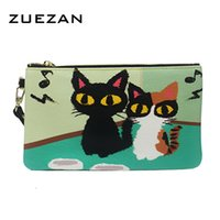 Wholesale colored clutches - Wholesale- 2017 New Women Genuine Leather Colored Character Clutch Coin purse Card holder Cute CAT Rabbit Elephant Bear Kids Gift Small