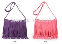 Wholesale Suede Purse Fringe Wholesale - wholesale 50PCS Suede Fringe Tassel Shoulder Bag women's fashion brown handbag purse tote bags Free Shipping