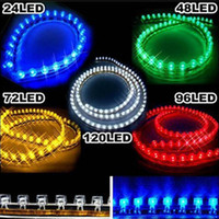 Wholesale 48cm Green Led Strip - Car 24cm 48cm 72cm 96cm 120cm Waterproof PVC LED Neon Car Light Strip flexible Strips