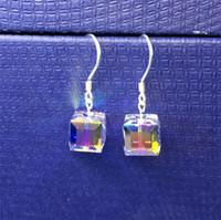 ingrosso cristallo swarovski genuino-Orecchini Magic Cube AB Color Fashion Genuine Swarovski Element Crystal Solid 925 Sterling Silver Design mozzafiato 1108