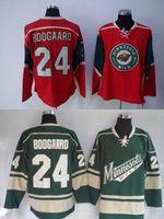 Wholesale Cheap Wild Hockey Jerseys - Cheap Mens Minnesota Wild Ice Hockey Jerseys Home Red Green #24 Derek Boogaard Jersey Stitched Jersey Free Shipping