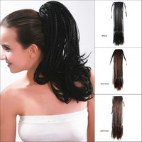 """Wholesale Braided Ponytail Hairpiece - Sara,Braiding Hair Drawstring Straight Micro Braids Ponytail Hair Extension 45CM,18"""",Clip in on Ponytails Synthetic Hairpiece Horsetail"""