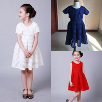 Wholesale Sandwich Wraps - Sandwich Mesh Kids Ball Gowns Flower Girl Dress for weddings with Wrap Knee Length White Royal Blue Red Children Birthday Party Dress MC0247