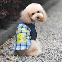 Wholesale Dog Down Coat - Pet Small Dog Cat Lapel Collar Shirt Button Down Plaid Polo T Shirt Tops Clothes