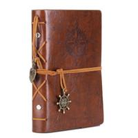 notebook mädchen großhandel-Leder Notizbuch Notebook 5 Zoll Retro Spiral gebunden Notizbuch nachfüllbar Tagebuch Sketch für Mädchen und Jungen dunkelbraun