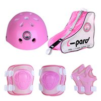 Protections de patinage pour enfants de glace-en gros ensemble complet y compris Kneelet + casque + Triangle sac en plein air Cyclisme Roller Skating casque de protection