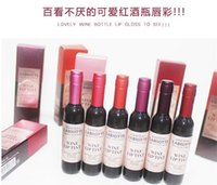 Wholesale Korean Cosmetics Wholesale Free Shipping - .Korean Brand Wine Red Shape Lip Tint Baby Pink Lip For Women Batom Gift Makeup Liquid Lipstick Chateau Lipgloss Cosmetic free shipping