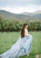 Wholesale Short Fairy Dress White - Vestido De Noiva 2017 Country Fairy Beach Wedding Dresses Vintage Lace A line Dusty Blue Tulle Boho Bridal Wedding Gowns Ruched Long