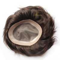 Wholesale Real Hair Hairpieces - Men Toupee 6x8 Inch Human Hair Mono base with NPU around Men Wigs Toupee Short Real Natural Black Hairpiece Replacement free shipping