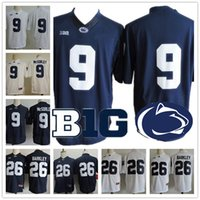 Wholesale fiesta yellow - Penn State Nittany Lions #9 Trace McSorley #26 Barkley #2 #88 Navy Blue White PSU College Football Stitched NCAA Fiesta Rose Bowl Jerseys
