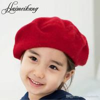 boina roja para niños al por mayor-2016 Nueva Boina de Lana Kids Girl Casual Chirlder Boina Negro Rojo Gris Sombrero la Cúpula Cap Buds Sombrero para Beret