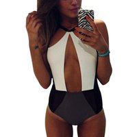 Wholesale white halter neck bikini for sale – plus size PrettyBaby white black bodysuit bathing suit sexy one pieces Beachwear Monokini Halter Neck color patchwork swimsuit bodysuit