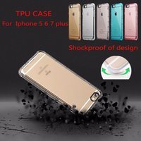 Wholesale Corner Plastic - Phone Case For iPhone 5 5S 6 6S 6 Plus 7 7 Plus Corner Airbags Shockproof Soft TPU Back Cover Transparent Protector