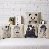 Panda Bears Tiger Orsi polari Leone Fierce Animal cute Sketch art Cuscino Massaggiatore Cuscini decorativi Euro Custodia Emoji Gift Home