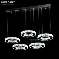Wholesale Living Room Lamp Drop - Modern LED Crystal Chandelier Light Fixture Ring Crystal LED Hanging Lustre Lamp Clear Crystal Drop Lighting for Home Decoration