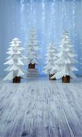piso espumoso blanco al por mayor-Impreso por computadora Cortina suave Luz brillante Fotografía Telones de fondo Navidad Papel blanco Cortar árboles Merry Xmas Photo Background Suelo de madera