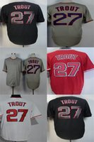 Wholesale Best Free Logos - Wholesale Mens Womens Kids Toddlers free shipping Los Angeles 27 Mike Trout Full Embroidered Logos Best Quality Cheap Baseball Jerseys