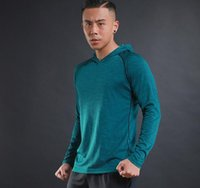 Wholesale Fitness Sweaters - 2017 autumn and winter new men's long-sleeved T-shirt sweater thin breathable fitness training sports and leisure long-sleeved hooded