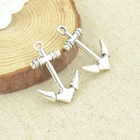 Wholesale Silver Anchor Charm Necklace - wholesale 70pcs Vintage silver plated anchor charms metal pendants for bracelets & necklace diy jewelry findings 29*20mm 2410