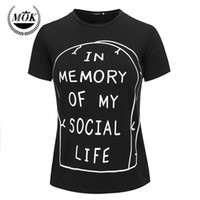Wholesale Punk Goth Shirt - Wholesale-In Memory of My Social Life T-Shirt Pastel Goth Grunge Goth Tumblr Anti Social Kawaii Internet Hipster Rip Punk Indie Cute Emo