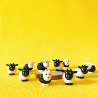 Wholesale Animal Doll House - 20 Pcs  miniatures animals black and white sheep cute fairy garden doll house terrarium gnome figurine home desktop decor