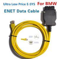 obd2 usb kablosu bmw toptan satış-2016 BMW için ICYS ESYS Veri Kablosu OBD Ethernet Kodu ICOM a2 Interfac OBD2 BMW ESI Enet Kablosu için E-SYS ICOM Kodlama Teşhis Kablosu