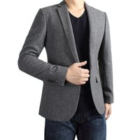 Wholesale Casual Wool Blazers For Men - 2016 new arrival Brand Men's autumn fashion Wool Blend casual Blazers & Suits korean style single button slim fit outdoor coats for men