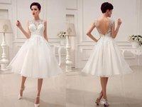 Wholesale Sexy Alencon Lace Wedding Dress - 2016 Wedding Dresses Little White Dresses A-Line Wedding Dresses Tea-Length Applique Alencon Lace Simple High Quality A Bridal Gowns cheap