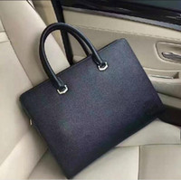 Wholesale Bag For Laptop Genuine Leather - Hot famous Designers genuine leather men's Briefcase Bags high quality Business men bag brand laptop bag for male 629