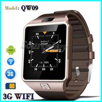 3g carte sim regarder les téléphones achat en gros de-Nouveau QW09 Bluetooth Smart Watch Horloge Android 4.4 3G WiFi SIM Carte Caméra Passomètre Smartwatch Pour iOS Android Phone intelligente montre-bracelet