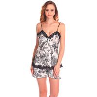 Wholesale Ladies Babydoll Sets - Wholesale- Ladies Sexy Silk Lace Nightwear Satin V-Neck Cami And Shorts Set Comfy Pajamas Pretty Nighties Babydoll Pajama Sets