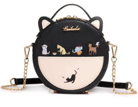 Wholesale Cute Fashion Handbags - 2017 hot new girls Cute kitten chain bag Cosmetic bag handbag fashion small round shoulder bag