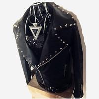 Wholesale Fly Jazz - Wholesale- Male PU leather slim tide jacket pants 2 pieces set black rock jazz dance blazer coat trousers suit show nightclub bar prom dj