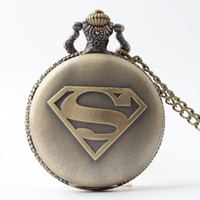 Wholesale Men S Fashion Jewelry Wholesale - Bronze superhero superman Pocket Watch necklaces S mark locket Fob quartz Watches men women Fashion jewelry gift 230157