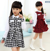 Wholesale Han Chinese Clothing - Children's clothing han edition in spring and summer princess plover grid medium young girl's dress is black and white and red hager son