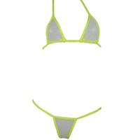 Wholesale Sexy Black Mesh Bathing Suit - Women hot sexy mesh transparent bandage mini micro bikinis swimwear set swimsuit beachwear bathing suits g string thong lingerie