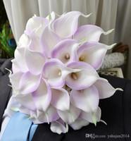 suni düğün buketleri mor toptan satış-Sıcak Satış mor Renk Calla Zambak Yapay Çiçekler Düğün Buket Lateks Gerçek Dokunmatik Calla Zambak Düğün Çiçek Buketi