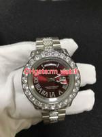 homens relógios de ouro verde venda por atacado-NOVA Luxo 43mm prata Grande diamante Mecânico homem watch (red green and blue) mostrador de prata Automática de aço Inoxidável dos homens relógios