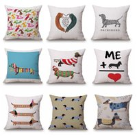 Wholesale Ring Pillow Gold - 2017 New Style Dachshund Christmas Festival Cushion Cover Sofa Pillow Case Sausage Dog Oil Paint pillow cover Bedroom Sofa decoration