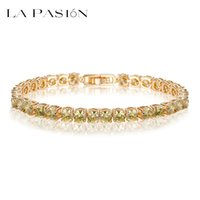 Wholesale Champagne Cubic Zirconia Bracelet - LA PASION Brand Trendy Olive Yellow Bracelets Bangles Champagne Gold Plated 5mm Round AAA Cubic Zirconia Bracelet for Women Hot