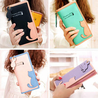 Wholesale Wholesaler For Teen Dresses - cute wallet for teen girls Fashion Women Lady Cute Cat Clutch Long Purse Wallet Card Holder Mobile C00833