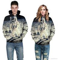 Wholesale Hoodie Jacket For Womens - New Winter For Womens Mens Fleece Hoodies Jackets 3D Print Night Sky Long Sleeve Harajuku Sweatshirts Punk Tops Down Coats QYDM 013