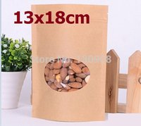 Dimensioni 13x18cm sacchetto dell'alimento carta kraft con finestra, cerniera kraft stand up pouch