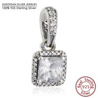 Charms square pendant bead - Square CZ Timeless Elegance Charms Pendant Sterling Silver Dangle Big Stone Charm Beads Diy Famous Brand Autumn Fine Jewelry