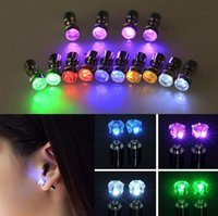 Wholesale Bar Drop Earrings - Charm LED Earring Light Up Crown Glowing Crystal Stainless Ear Drop Ear Stud Earring Jewelry for DJ Dance Party Bar Christmas gift