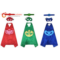 Wholesale Boys Super Hero Costumes - Hero cape mask Bracelet for birthday party Carnival cape gifts Summer Camp Children day for boy&girl cosplay costume