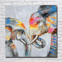 Wholesale Elephant Oil Canvas Painting - Framed Two Loved Elephants,Pure Hand Painted Modern Wall Decor Abstract Animal Art Oil Painting On High Quality Canvas.Multi sizes al-MY