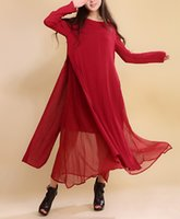 Wholesale Polka Dot Two Piece Dress - Women Dress Solid Color Red Color Plus Size 2XL Loose Cotton Linen Vintage Dress Long Sleeve Two Piece O Neck Autumn Maxi Dress