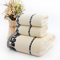 Wholesale Embroidery Hand Towel - Embroidery Sides(3pcs Lot) Bath Face Towel Set 1*70cm*140cm & 2*34cm*74cm 100% Cotton Bath Towel Piece Set Face Towel Wholesale 3 Colors