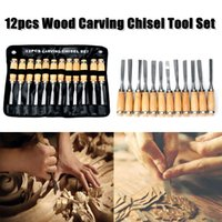 Wholesale Wood Chisels Set - 12pcs Wood Carving Hand Chisel Tool Set Professional Woodworking Gouges Steel